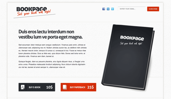 Bookpage - a HTML template - has very clear calls to action