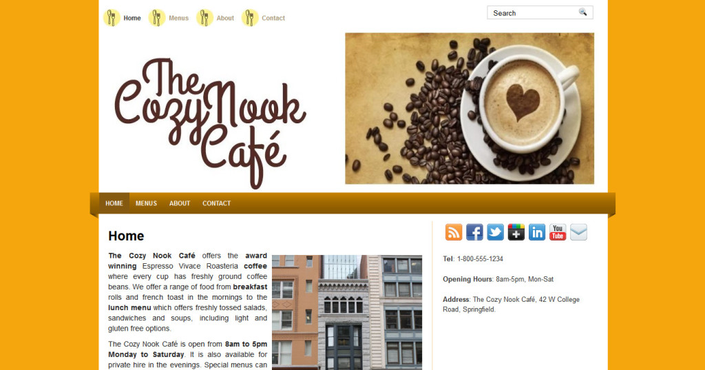 Finished site: TheCozyNookCafe.com